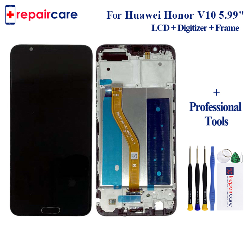 Original For <font><b>Huawei</b></font> <font><b>Honor</b></font> V10 BKL-AL20 for <font><b>Honor</b></font> View 10 LCD screen <font><b>display</b></font> touch digitizer frame +fingerprint home buttons image