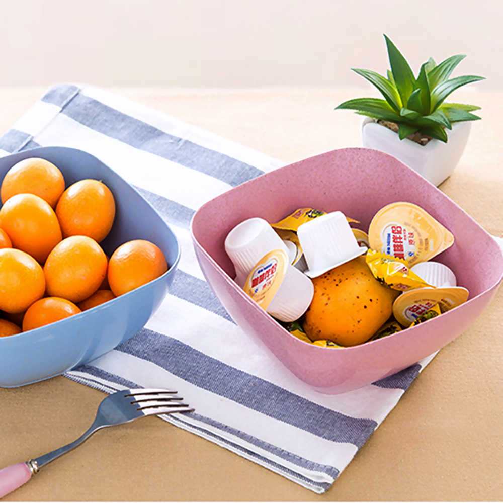 Cooking Tools Wheat Straw Food Container Salad Bowl Square Fruit Plate Living Room Candy Snack Plates