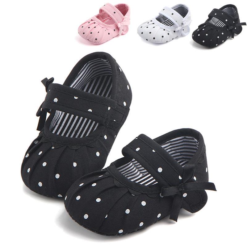 2019 Newborn Baby Girl Shoes Cute Polka Dot Princess Kid Anti-slip On Shoes 0-18 Months Toddler Crib Hook Loop First Walkers