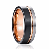 Men 8mm Tungsten Ring Black Rose Gold Silver Line Wedding Band Engagement Ring Men's Party Jewelry Bague Homme