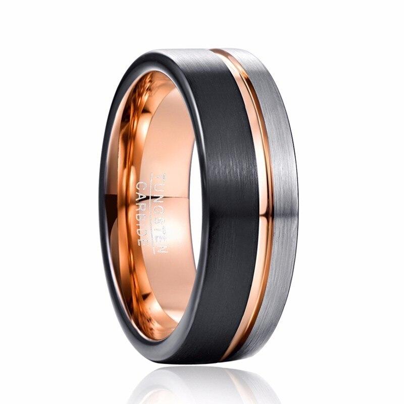 Hommes 8mm Bague tungstène noir Rose or ligne argent bande de mariage Bague de fiançailles hommes bijoux de fête Bague Homme