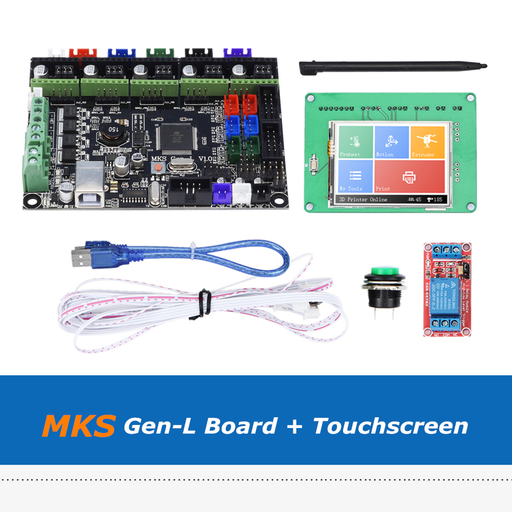 3D Printer Mainboard Set 2 4 2 8 3 5inch Full Colored Touch Screen + MKS  Gen-L V1 0 Integrated Board With Marlin Firmware