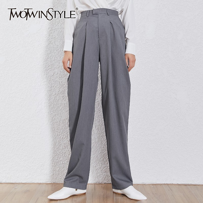 TWOTWINSTYLE Korean Solid Women Trousers High Waist Zipper Big Size Straight Pants Female Fashion Clothes 2019 Summer Tide