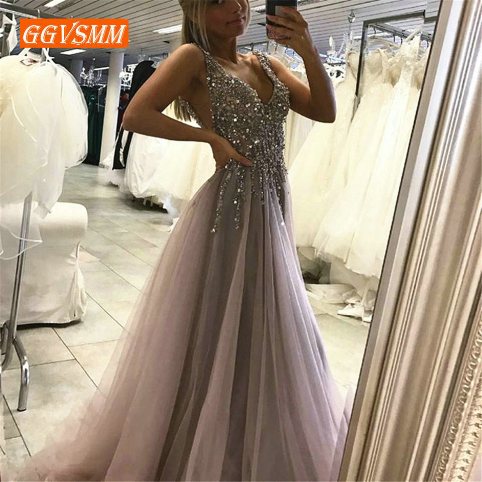 >Hot Selling Sliver Evening Dress 2019 Long Prom Gowns V Neck Backless <font><b>High</b></font> <font><b>Split</b></font> <font><b>Tulle</b></font> Beading A-Line Custom Made Party Dresses