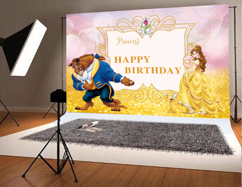 Beauty and The Beast Birthday Party Background Photo Princess Happy Photography Backdrop Children Studio