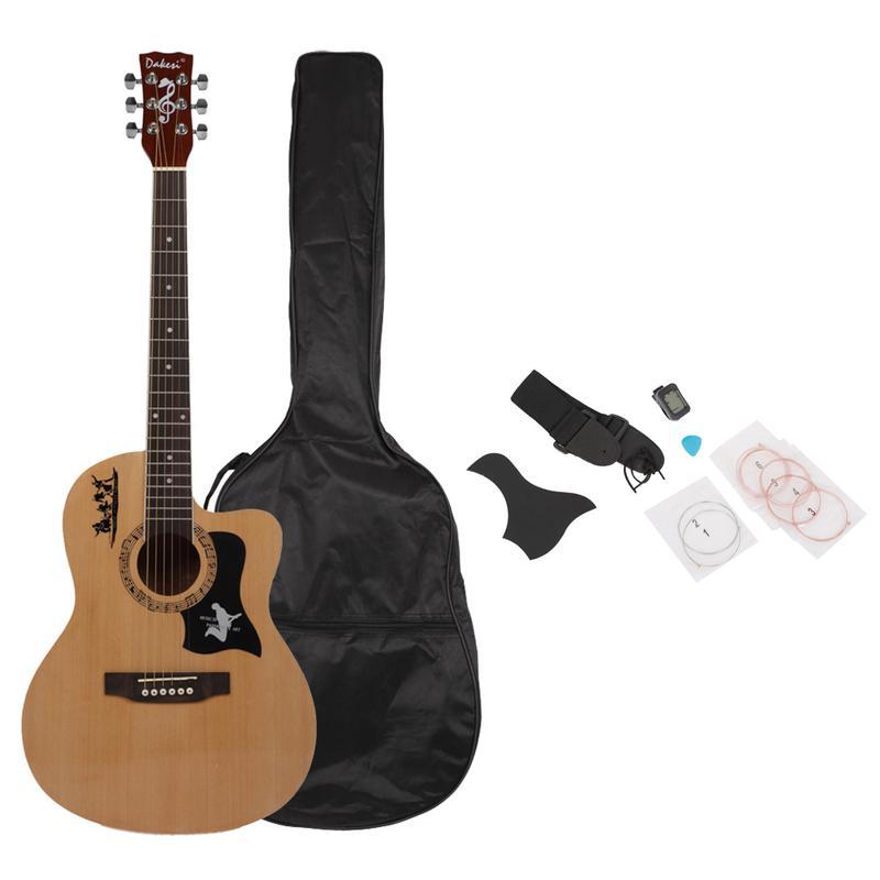 38 pouces guitare acoustique Kit débutants pratique de la guitare avec sac et sangle et guitare Pick & LCD mélangeur et Pickguard & cordes