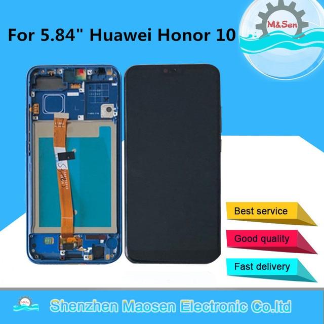 """5.84 """"orijinal M & Sen Huawei onur 10 için LCD ekran + dokunmatik Panel sayısallaştırıcı ile çerçeve + parmak izi onur 10 için ekran"""