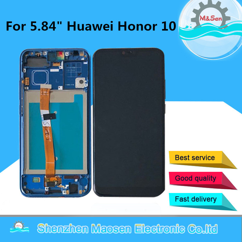 D'origine M & Sen Pour 5.84 Huawei honor 10 honor 10 Lcd écran affichage + Tactile digitizer avec cadre avec fringerprint avec des outils