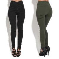 Женские Стрейчевые узкие брюки с высокой талией, обтягивающие джеггинсы, модные повседневные узкие брюки на пуговицах, S-3XL