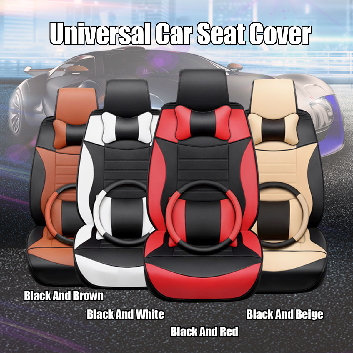 Protection universelle de coussin de siège de cuir de microfibre de voiture de 5 sièges avec la couverture de volant pour Honda/Toyota/VW