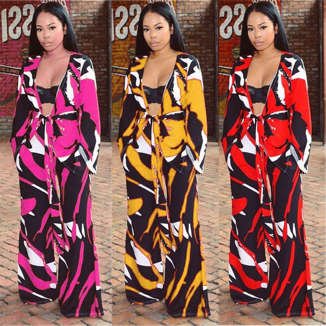 cea63a9e11d Trendy Tropical TWO PIECE SET Female Tweeted Print Runway Matching Outfits Wide  Leg Pants Belt Tie