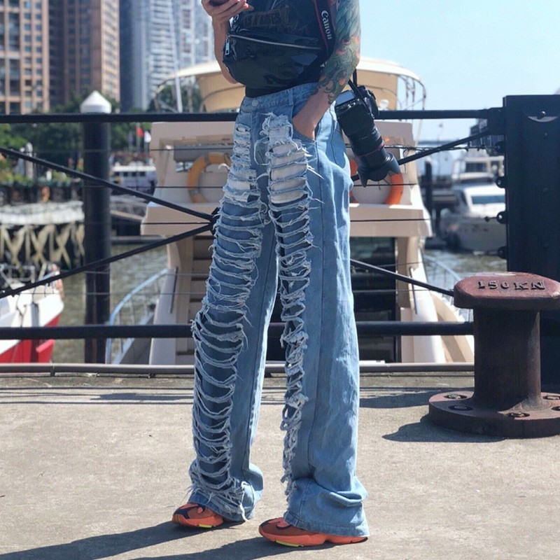 2019 New Boyfriend Style High waist Hollow Out Big Hole Denim Jeans Blue Vintage Loose Ankle-length Harem Pants Casual Trousers