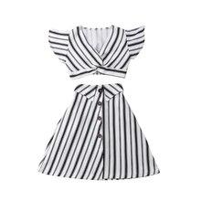 цена Girl Summer Clothes Striped Clothes For Kids T-shirt Skirt Kids Girls Clothes Girls Clothing Set Cotton Children Clothing Set онлайн в 2017 году
