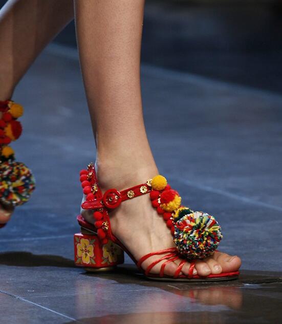 23c27687d9b Luxury Runway Multi Colored Bubbles Sandals Floral Cube Heels Women Flowers  Straps Cut out Open Toe