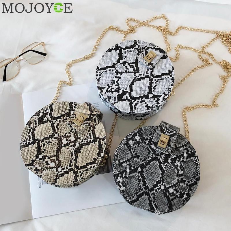 Retro Serpentine Chain Round Bag Women Handbags Printed Small PU Leather Shoulder Crossbody Bags Female Messenger Bag 2020