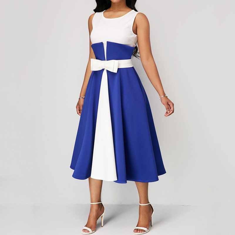 Kobiety elegancki Plus rozmiar sukienka lato Sexy czarny Vintage jednolita, w patchwork stylowy niebieski duże rozmiary Casual biuro sukienki midi 5XL