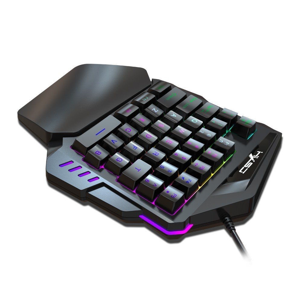 Image 4 - New Arrival V100 1.6m Wired Gaming Keyboard Mechanical Feel Backlight 35 Keys One handed Keyboard Black For Pc Mini Keyboard-in Keyboards from Computer & Office