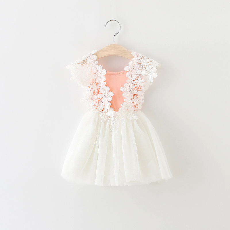 new 2016 summer baby clothing lace flower toddler girls dress mesh patchwork baby princess dress cute newborn girl party dresses