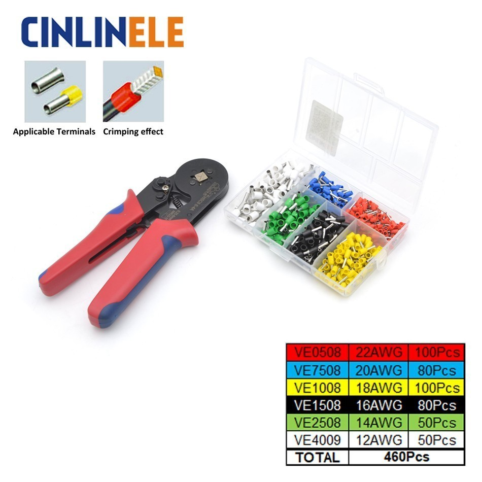 HSC8 6-6 & 10S + VE Tube Bootlace 460Pcs 0.25-6mm 23-10AWG 0.25-10mm 23-7AWG Crimp Pliers Tube Terminal Crimping Hand ToolHSC8 6-6 & 10S + VE Tube Bootlace 460Pcs 0.25-6mm 23-10AWG 0.25-10mm 23-7AWG Crimp Pliers Tube Terminal Crimping Hand Tool