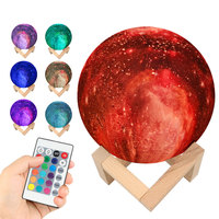 Kids Gift 15CM 3D Print Starry Sky Magic Star Moon Galaxy Planet Rechargeable Lamp 7 Colors Night Light for Christmas Gift CF758