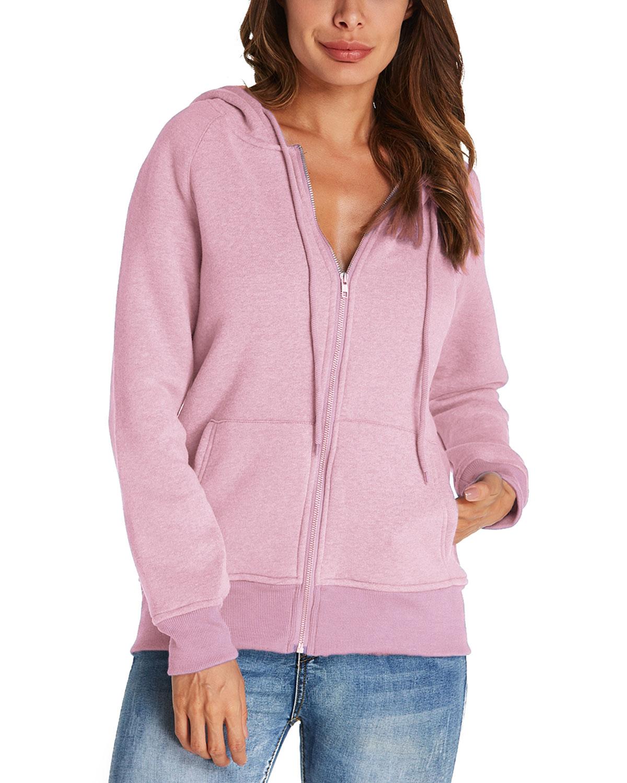Warm Solid Color Hoodies Sweatshirt Women Casual Loose Long Sleeve Hooded Sweatshirt Zipper Design Hoodies Overcoat Plus Size