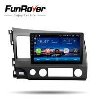 Funrover Car Radio Multimedia 2 din car dvd 10.1 Android 8.0 for Honda Left Civic 2006 2011 stereo GPS Navi tape recorder wifi