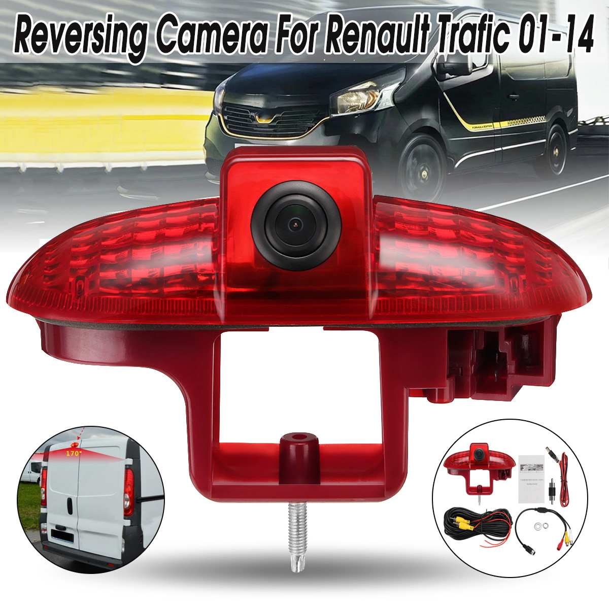 170 Degrees Car Rear View Reverse Reversing Backup Camera For Renault Trafic 2001 2014 10M Extension