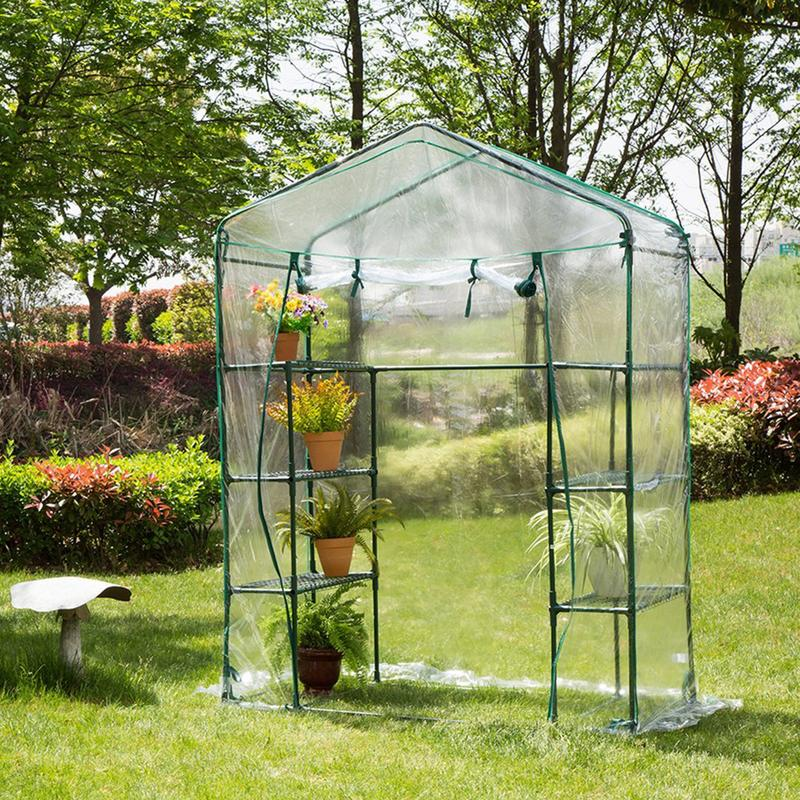 Portable Greenhouse House Flower Plant Keep Warm Shelf Roof Garden Shed Durable PVC Plastic Cover Roll up Zipper Outdoor Breath|Plant Covers| |  - title=