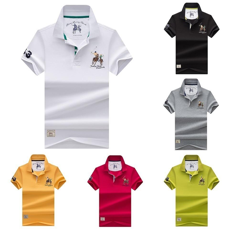 Men Summer Poloshirts Cotton Classic Casual Embroidery   Polo   Shirts Men Business Short Collar Tops & Tees   Polo   Shirt For Men