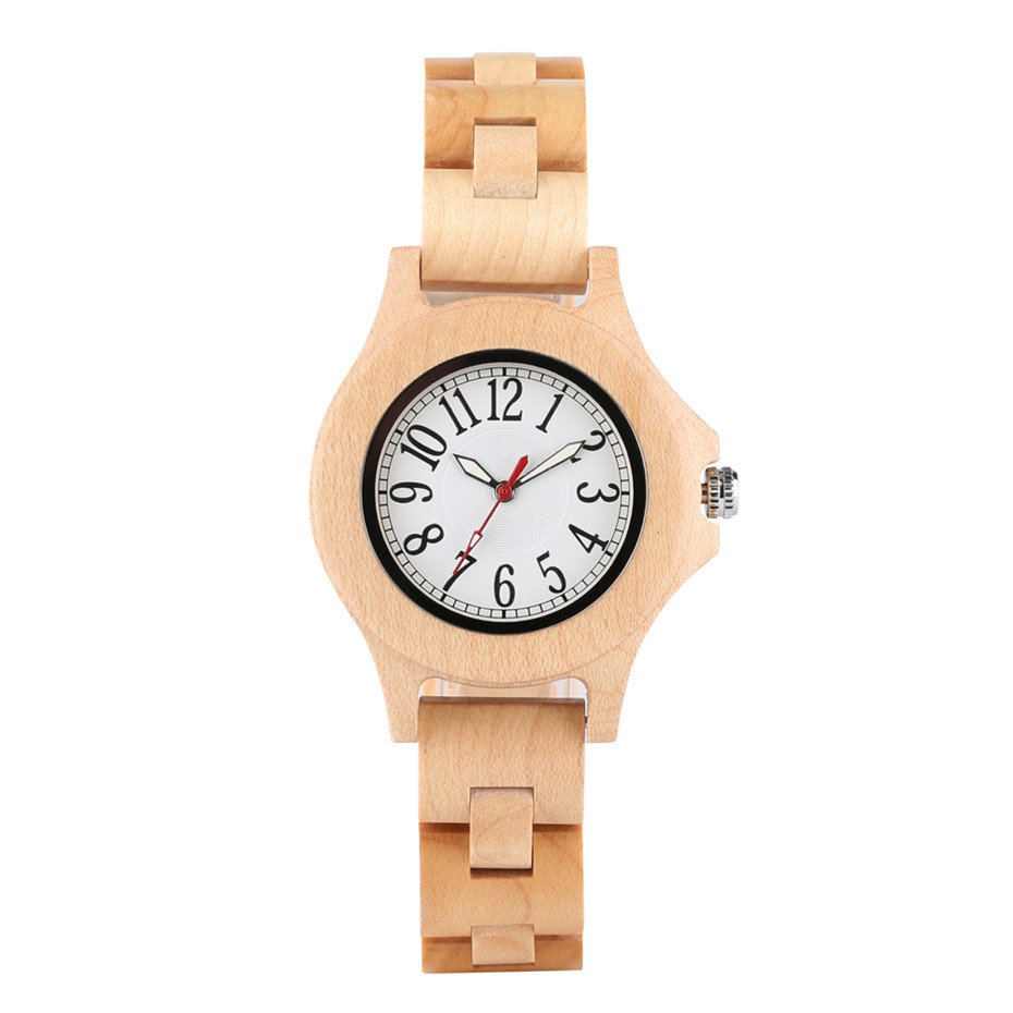 Bracelet Watches Women's Clock Timepieces Numerals Gifts Wooden Fashion Bamboo Arabic