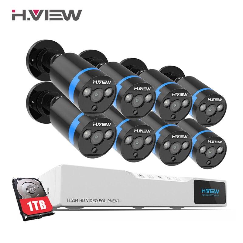 H ver sistema de cámara de Seguridad 8ch CCTV sistema 8x1080 P CCTV Cámara Sistema de Vigilancia Kit Camaras Seguridad hogar 1 TB HDD