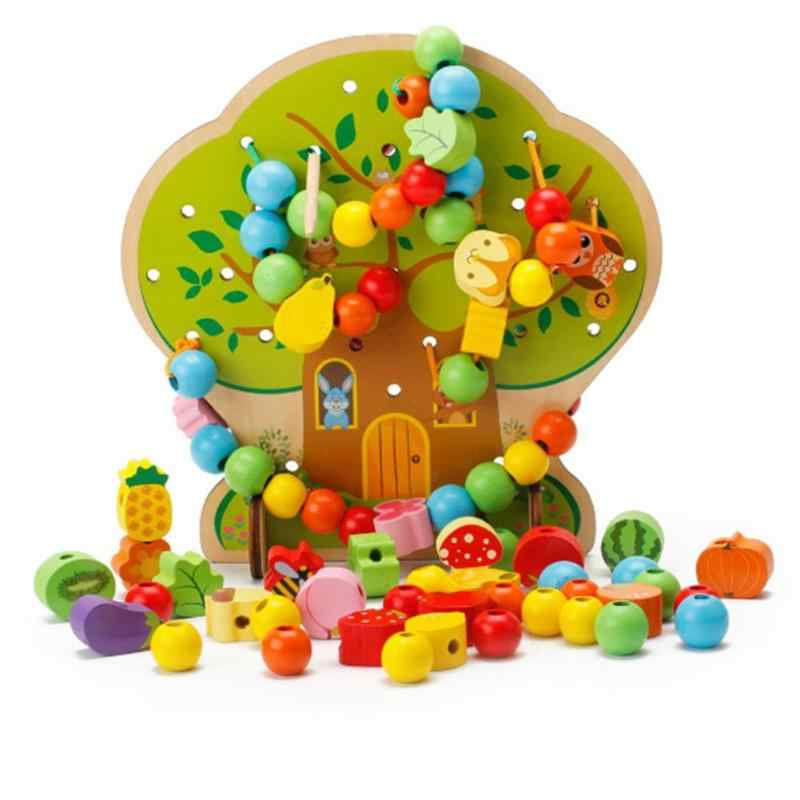 3D DIY Kids Wooden Toy Wooden Blocks Cartoon House String Beads Animal Fruit Tree Baby Early Education Learning Toy Kids Gift