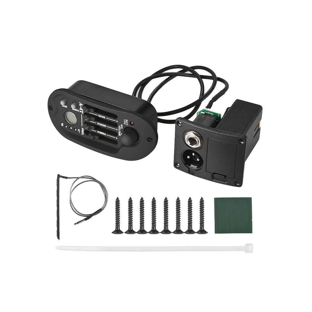 Acoustic Guitar Pickup 4-Band EQ Equalizer Tone Volume Amplifier Preamp Piezo Pickup with LCD Display