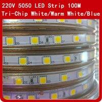 100 м Гибкие светодиодные SMD 5050 AC 220 V Высокая яркость 60 светодиодов/m Водонепроницаемый лента тесьма со светодиодами + ЕС Мощность Plug открытый
