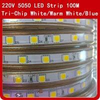 100 м Светодиодная лента гибкий свет SMD 5050 AC 220 V Высокая яркость 60 светодиодов/м водонепроницаемая лента тесьма со светодиодами + ЕС Вилка пита