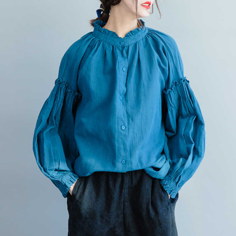DEAT 2019 春の新作ファッション女性服タートルネックバットウィングスリーブプリーツシングルブレスト a ラインのシャツ女性ブラウス WD792
