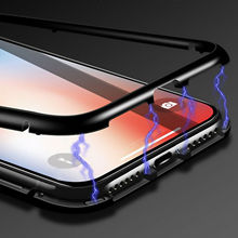 cell phone 360 armor shockproof metal bumper tempered Glass magnetic Adsorption FOR SAMSUNG Galaxy a9 2018