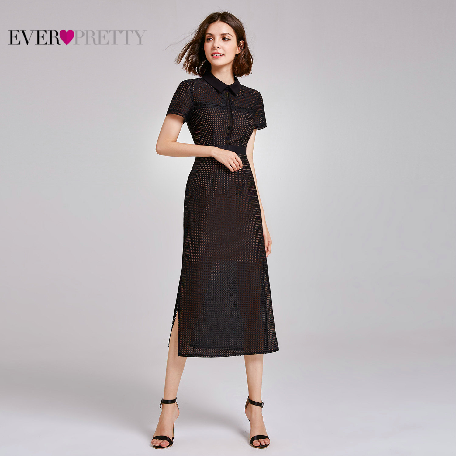 Lace Cocktail Dresses Ever Pretty AS07169 Short Sleeve Straight Sexy Causal Office Dress 2020 Tea Length Evening Gowns