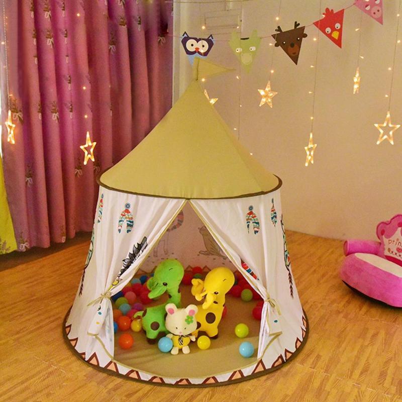 Image 4 - Детский вигвам, палатка 123*116 см, портативный Замок принцессы, подарок для детей, детская игрушка, палатка, подарок на день рождения, Рождество-in Игрушечные палатки from Игрушки и хобби on AliExpress - 11.11_Double 11_Singles' Day