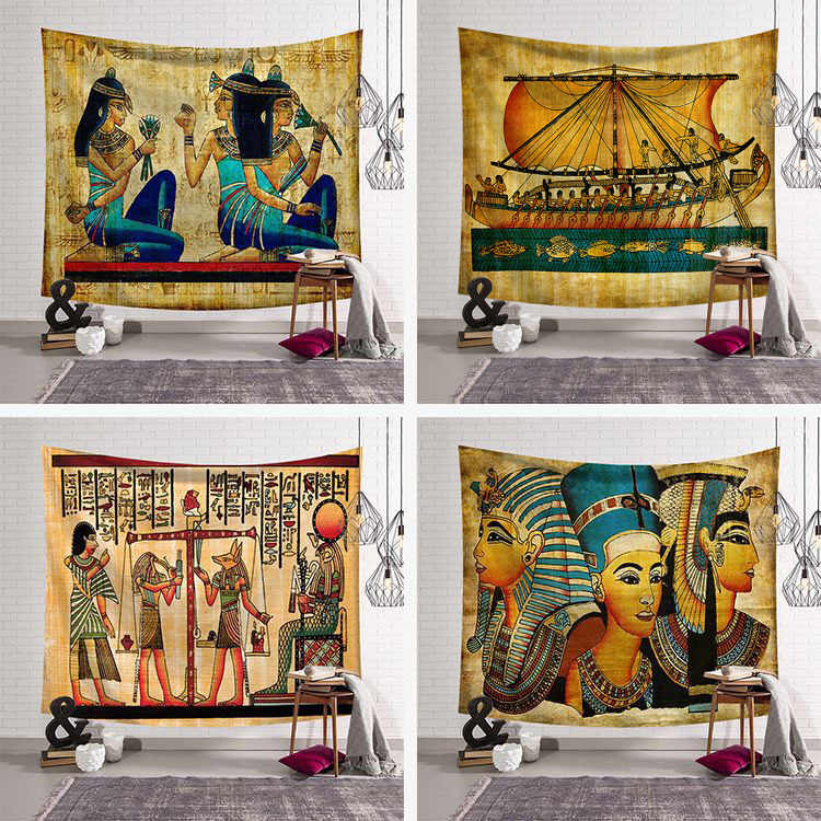 230X180cm Abstract Art Tapestry Wall Hanging Egypt Style Mandala World Architecture Towel Yoga Mat Table Cloth Decor