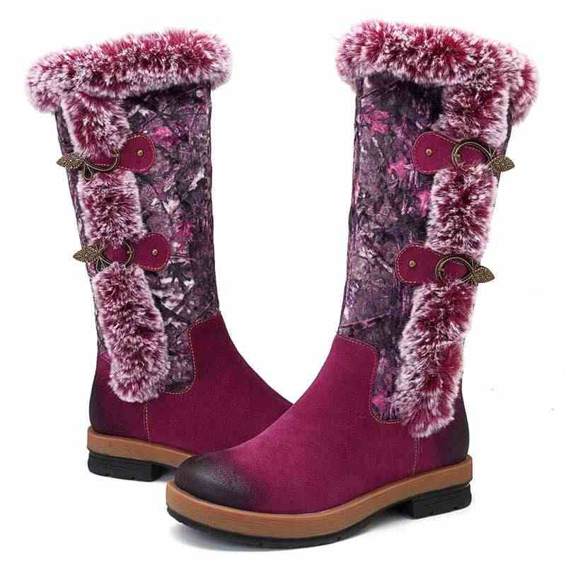 Socofy Winter Snow Boots รองเท้าผู้หญิง Vintage ของแท้หนัง Plush ขนสัตว์เรียงรายกลางลูกวัวรองเท้าบูทซิปสุภาพสตรีรองเท้าผู้หญิง Botas ใหม่
