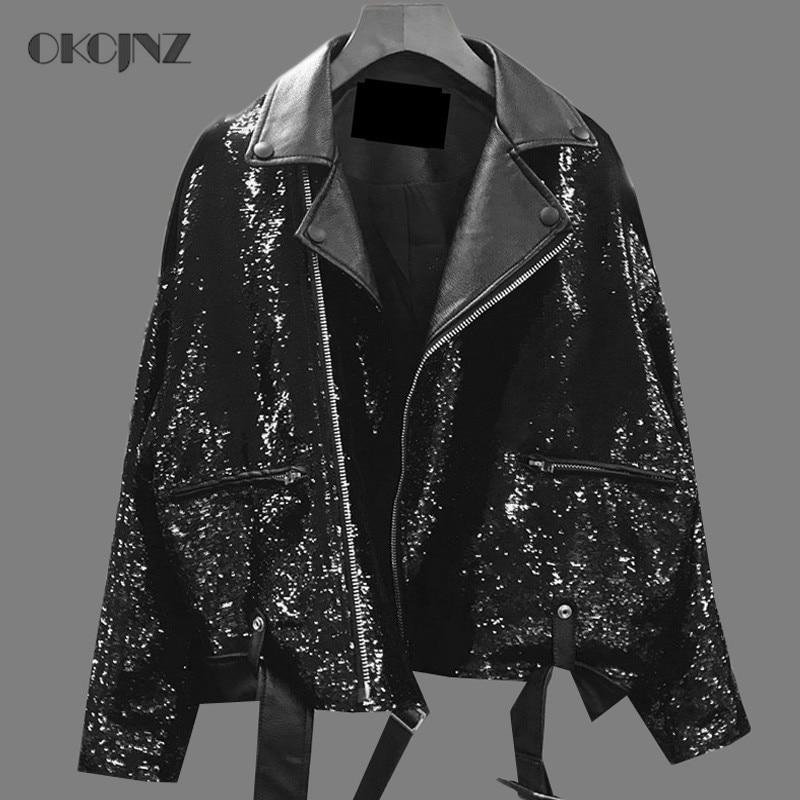 Black Bomber Okq133 Paillettes Spliced Streetwear Femelle Veste ACHq6CxwO