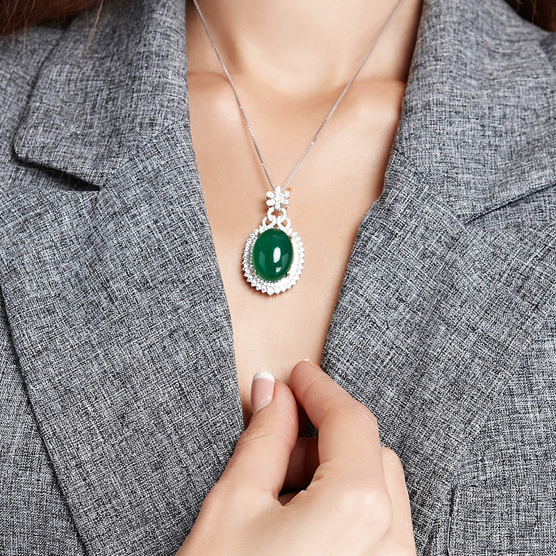 S925 Silver Color Necklace Corundum Pendant Jade Turquoise Collarbone Jewelry Jade Emerald Bizuteria Gemstone Pendant For Women