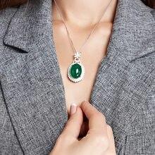 Collier en pierre précieuse pour femmes, pendentif en corindon, couleur argent, bijoux en Jade Turquoise, clavicule, émeraude, Bizuteria, S925
