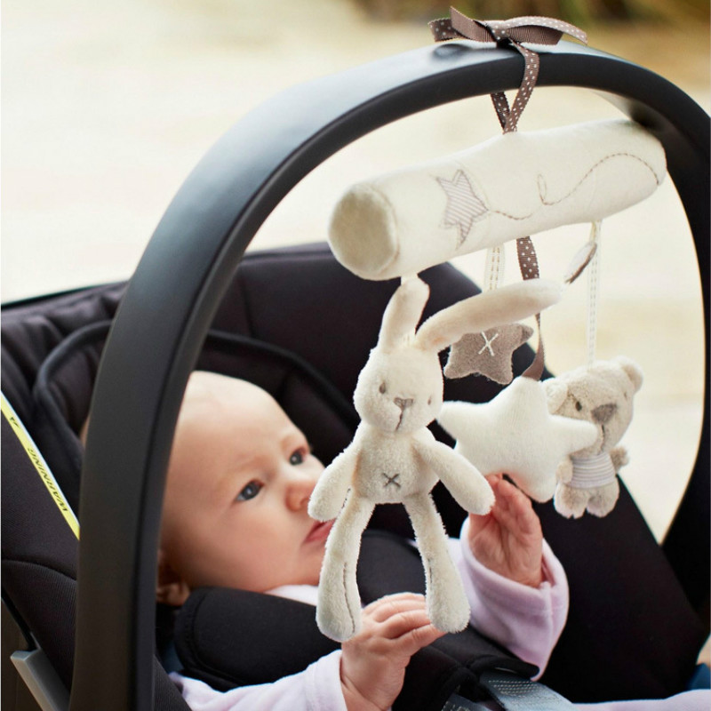 Hot Sale Rabbit Hanging Bed Safety Seat Plush Toy Hand Bell Multifunctional Plush Toy Stroller Hang Toys 1pc in Baby Rattles Mobiles from Toys Hobbies