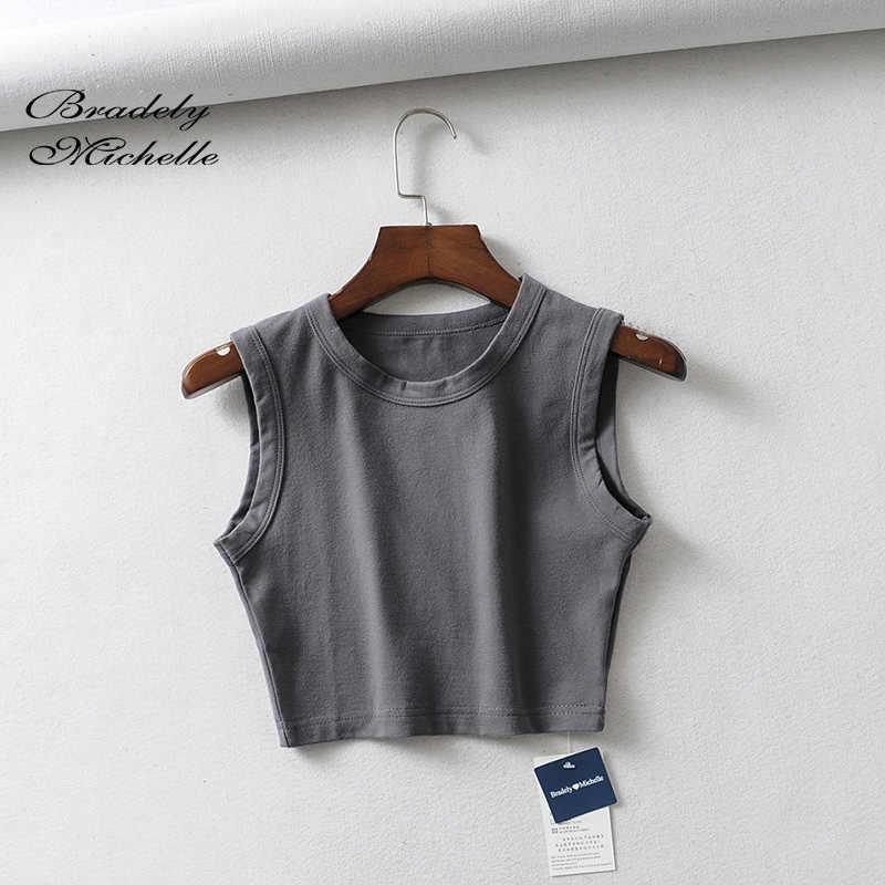 BRADELY MICHELLE 2019 Sexy Women Summer Crop Tops Sleeveless O-neck Short Cotton knitted bar female