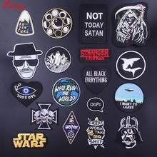 Pulaqi Star War Punk Style Iron-on Patches Embroidered Sewing Applique For Clothes Apparel DIY Letter Skull Badges Parches H