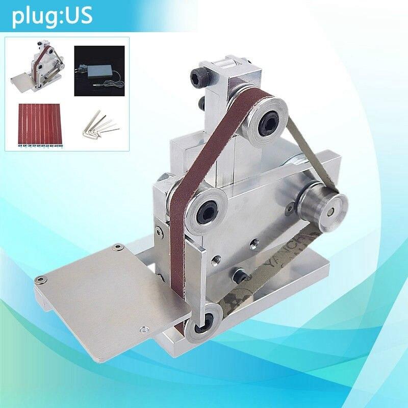 DIY Mini Belt Sander Bench Mount Grinder Polishing Grinding Machine Buffer US Plug 7 Speed Electric Angle Grinder