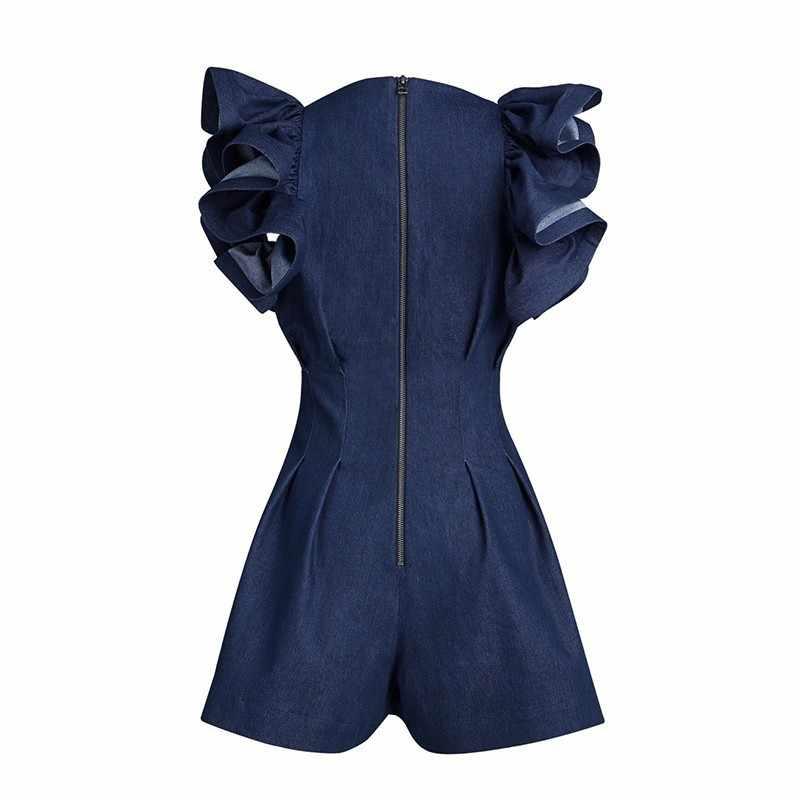 TWOTWINSTYLE черные комбинезоны для женщин с v-образным вырезом и рукавами с оборками и высокой талией короткие брюки женские 2019 Весна уличная мода Tide