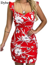 Summer Sleeveless Floral Printed Dress Women Sexy Halter Square Collar Club Party Dresses Ladies Vintage Mini Bodycon